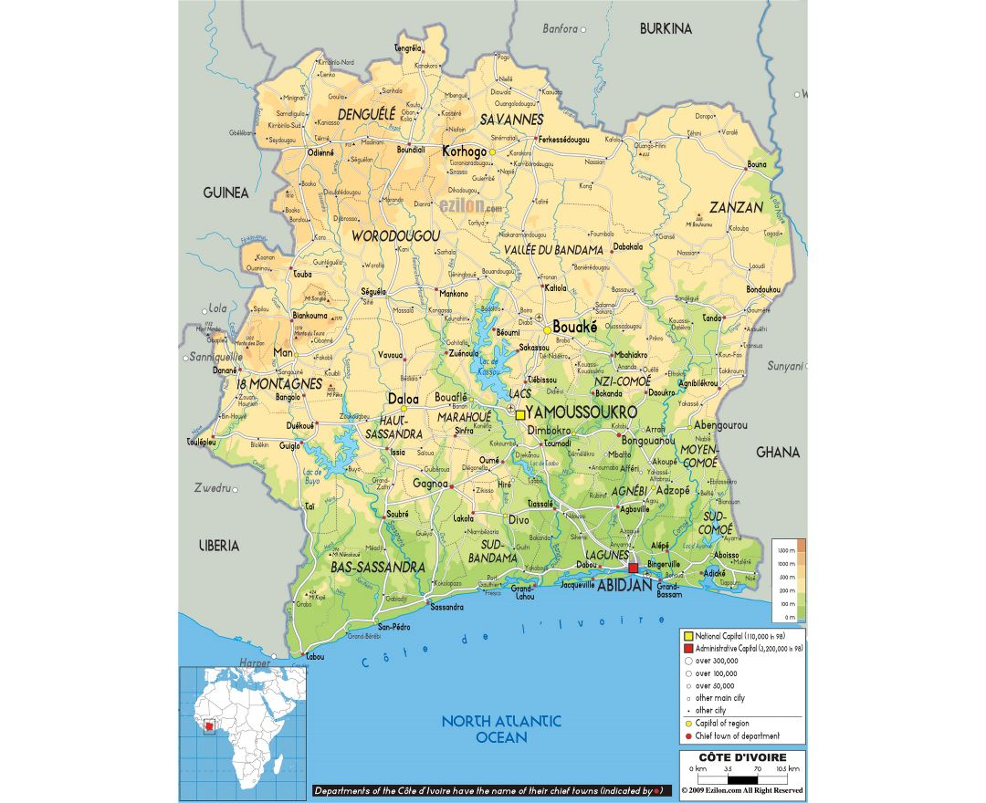 Maps of Cote d\'Ivoire | Collection of maps of Cote d\'Ivoire | Africa ...