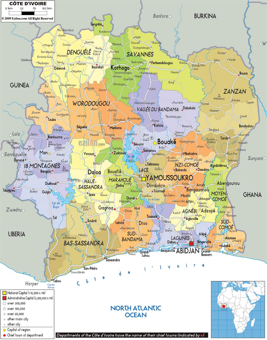 Large political and administrative map of Ivory Coast with roads, cities and airports