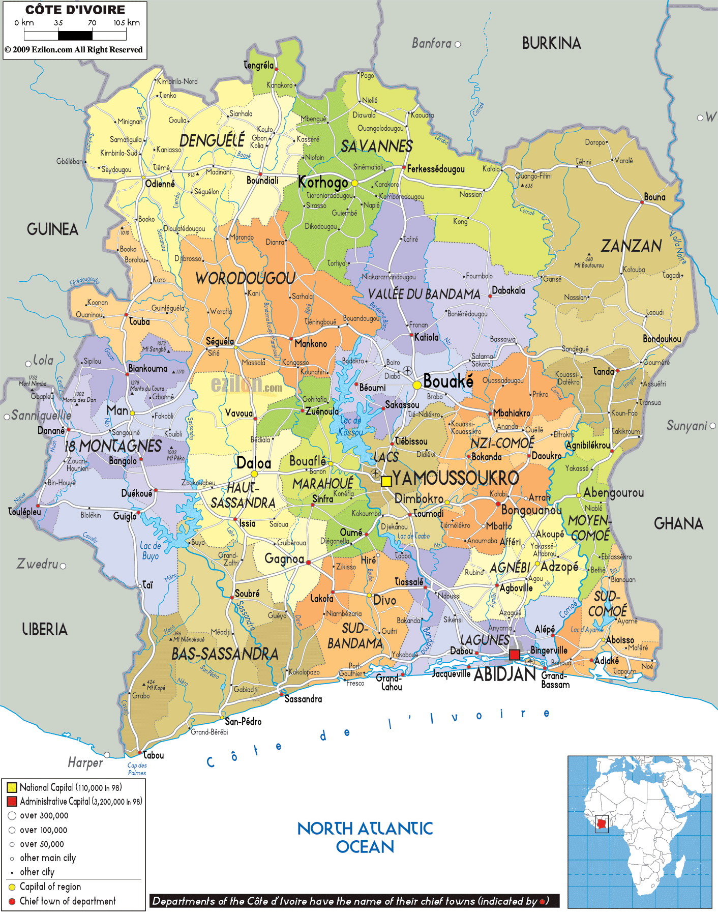 Large political and administrative map of Ivory Coast with roads