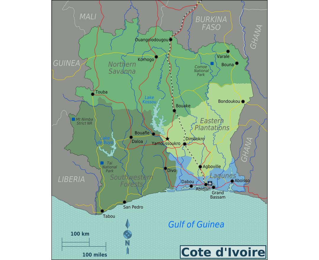 Large regions map of Cote d'Ivoire
