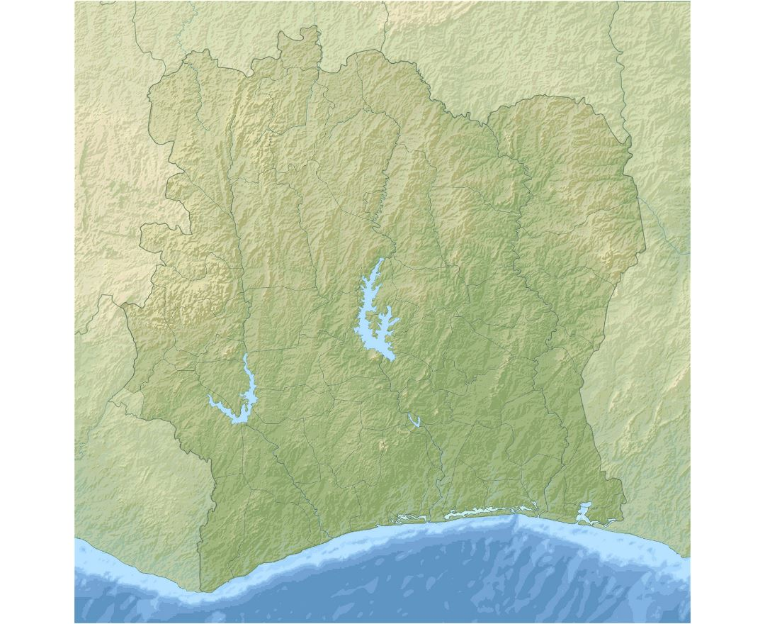 Large relief map of Ivory Coast