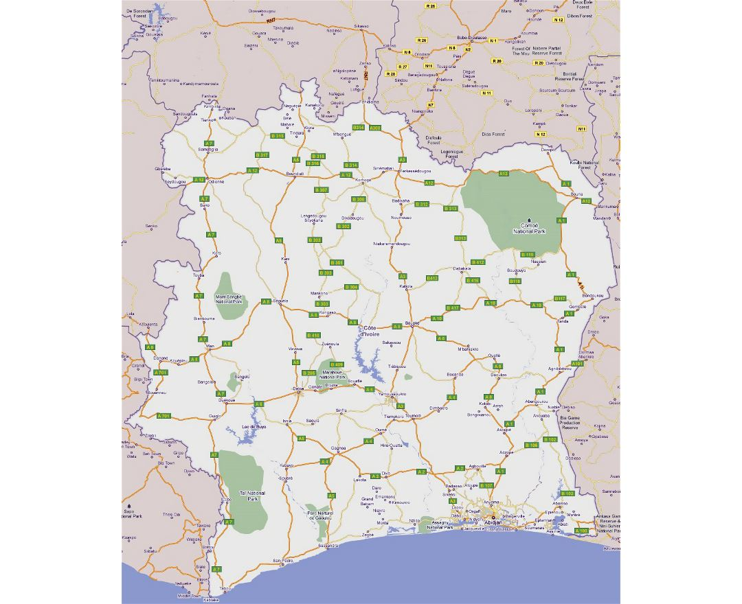 Large road map of Cote d'Ivoire with all cities