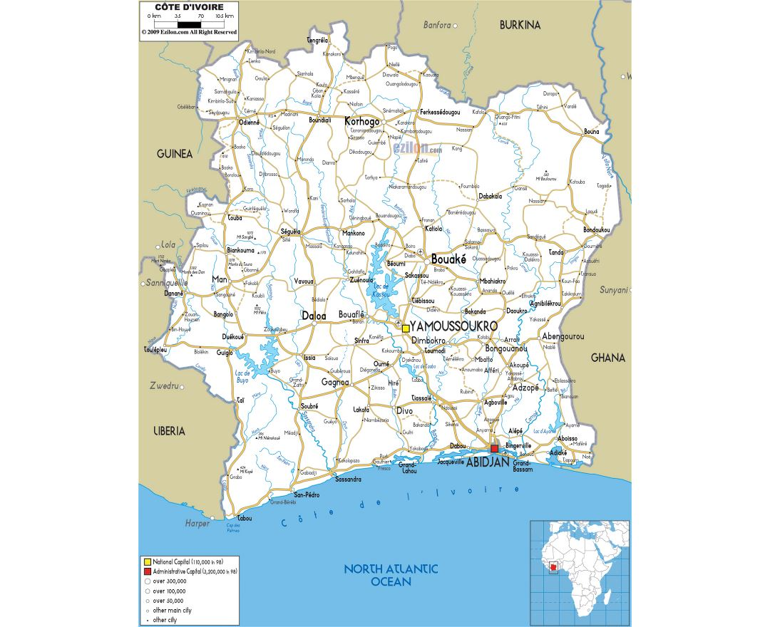 Large road map of Ivory Coast with cities and airports
