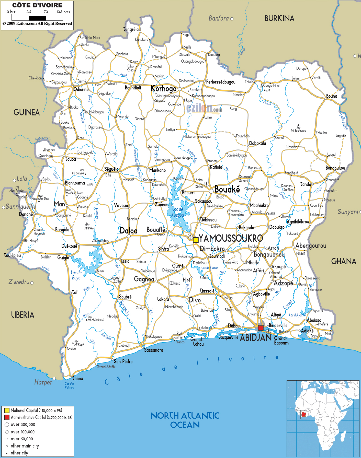 Large road map of Ivory Coast with cities and airports | Cote d ...