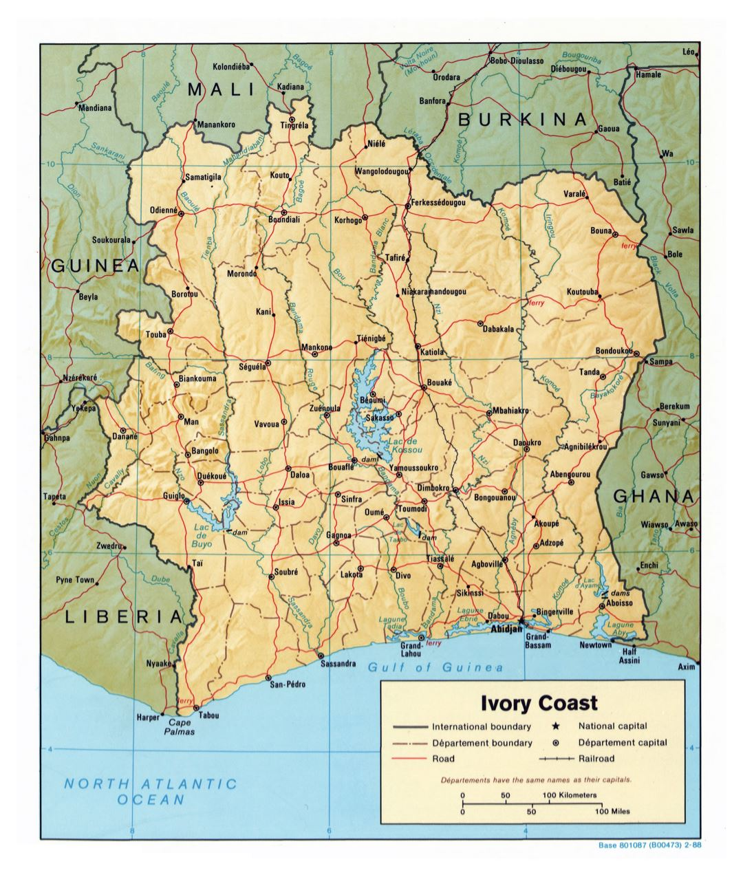 Large scale political and administrative map of Cote d'Ivoire with relief, roads, railroads and major cities - 1988
