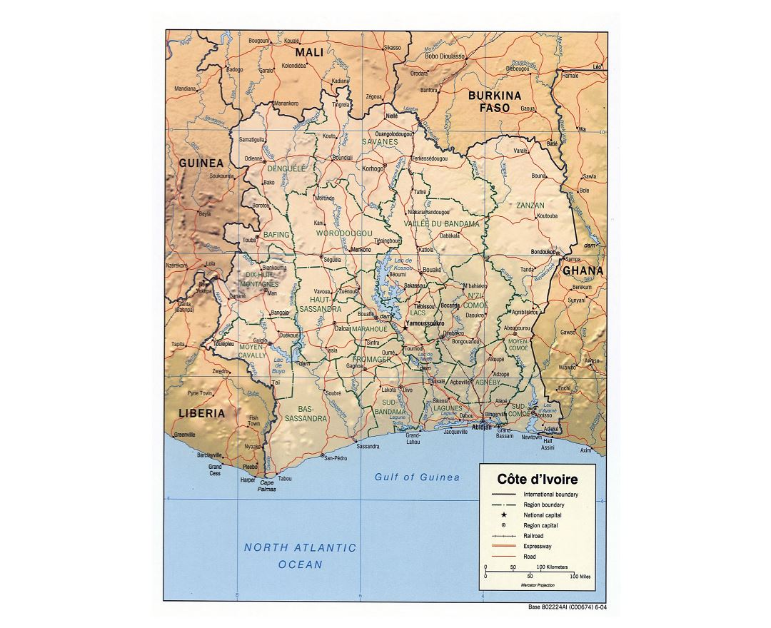 Large scale political and administrative map of Cote d'Ivoire with relief, roads, railroads and major cities - 2004