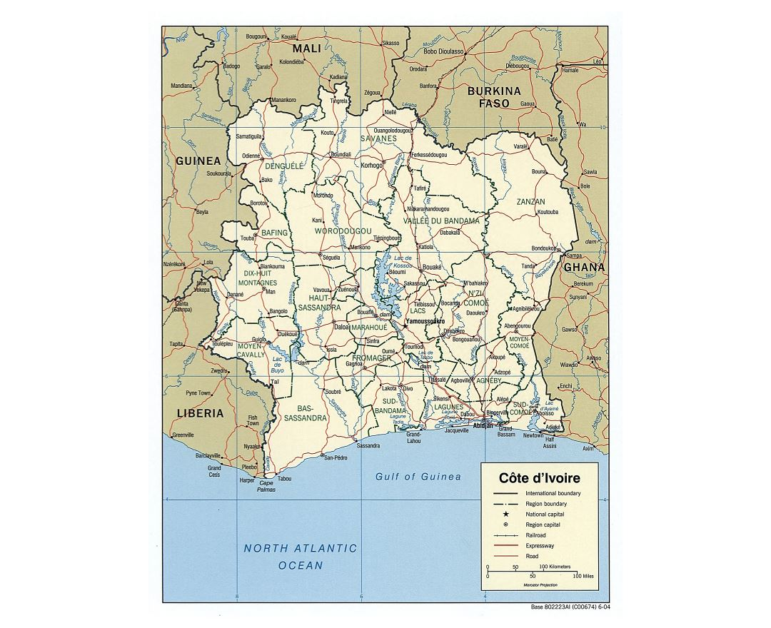 Large scale political and administrative map of Cote d'Ivoire with roads, railroads and major cities - 2004