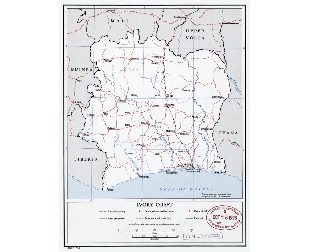 Large scale political and administrative map of Ivory Coast with roads, railroads, cities and airports - 1961