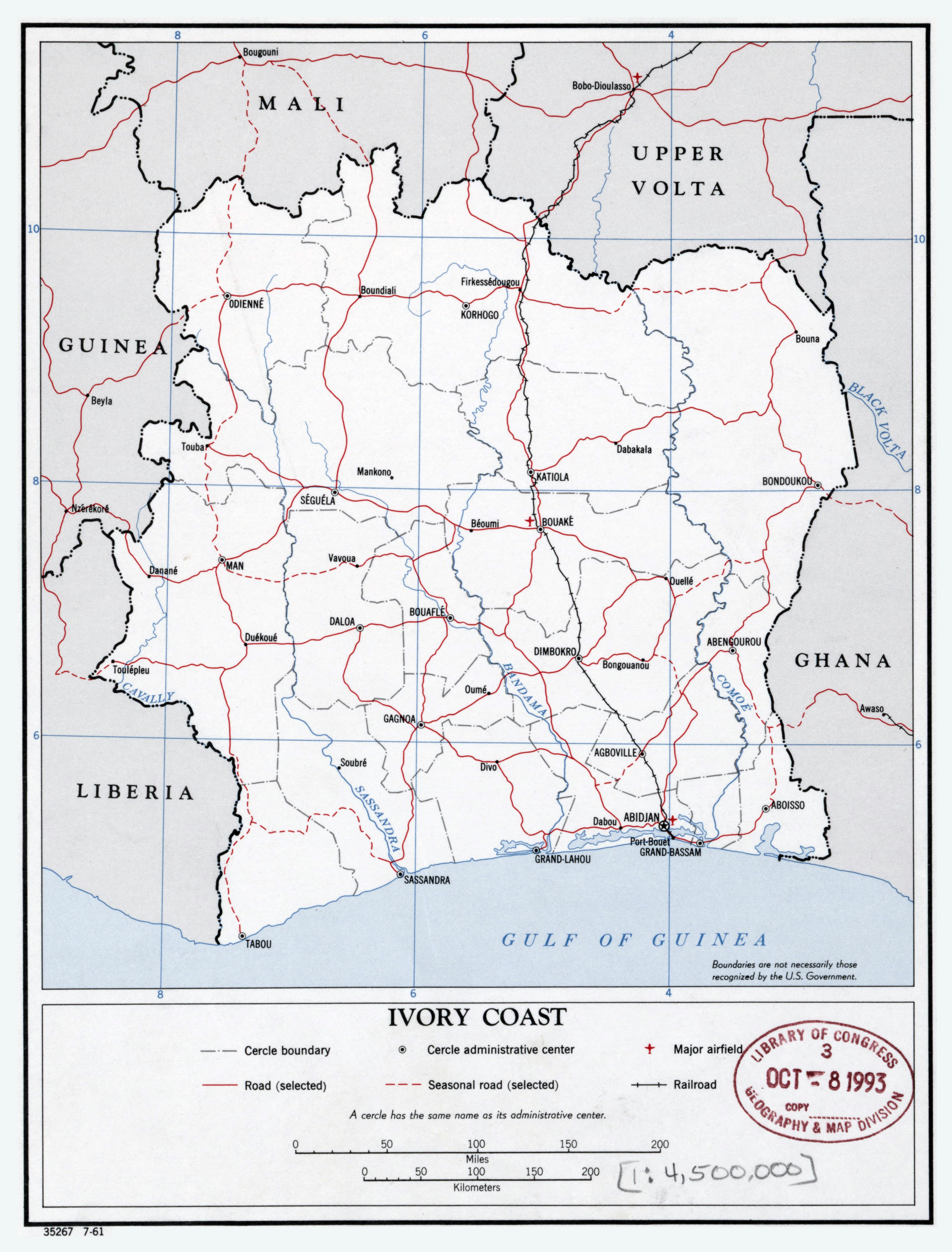 Large Scale Political And Administrative Map Of Ivory Coast With - Ivory coast map of africa