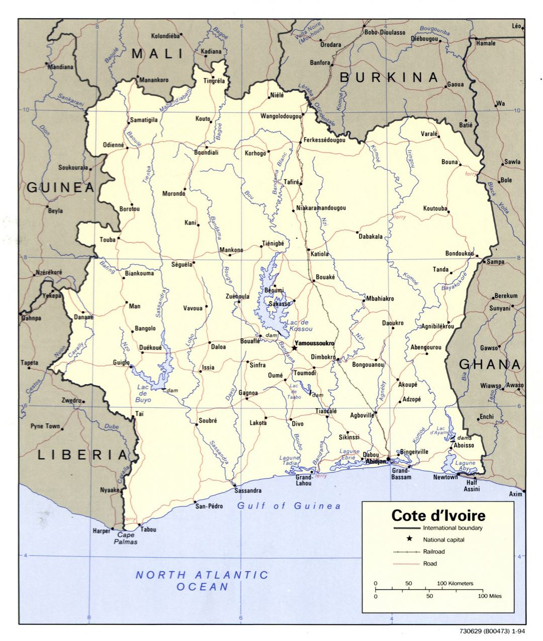 Large scale political map of Cote d'Ivoire with roads, railroads and major cities - 1994