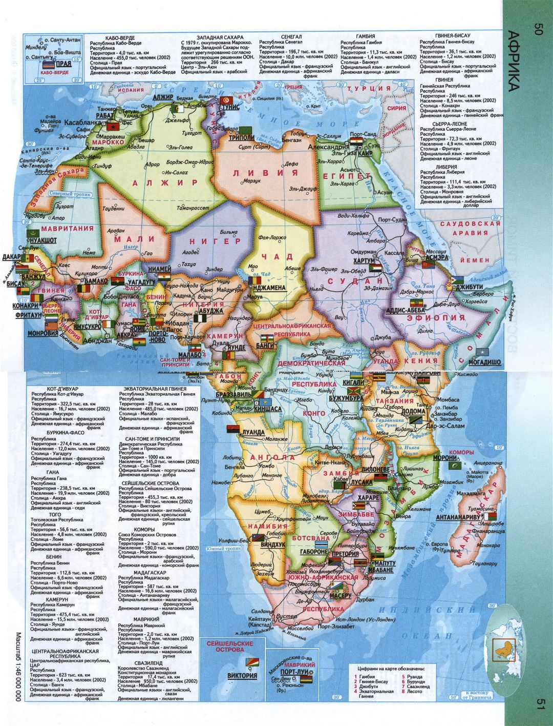 Detailed political map of Africa in russian