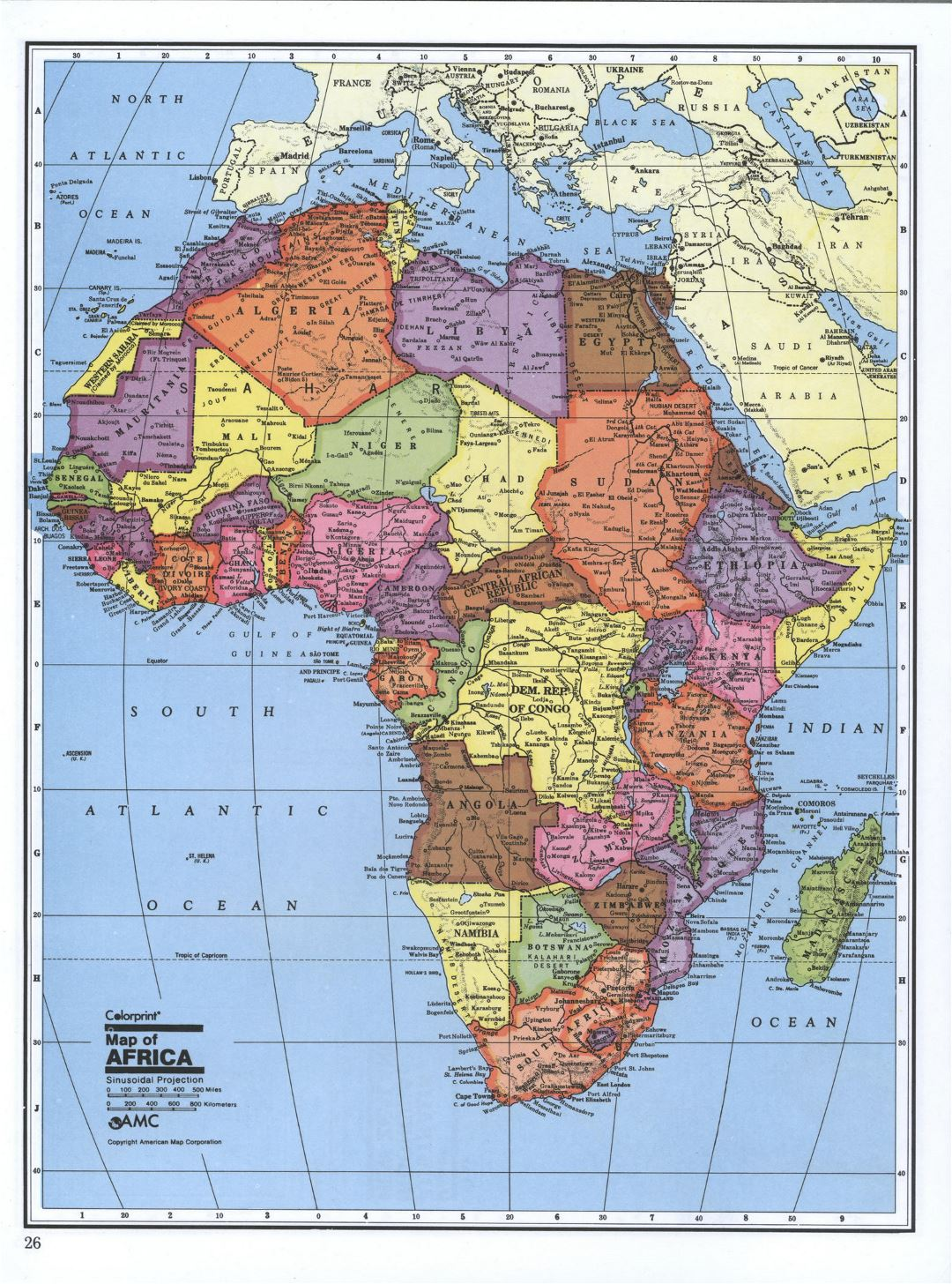 Detailed political map of Africa