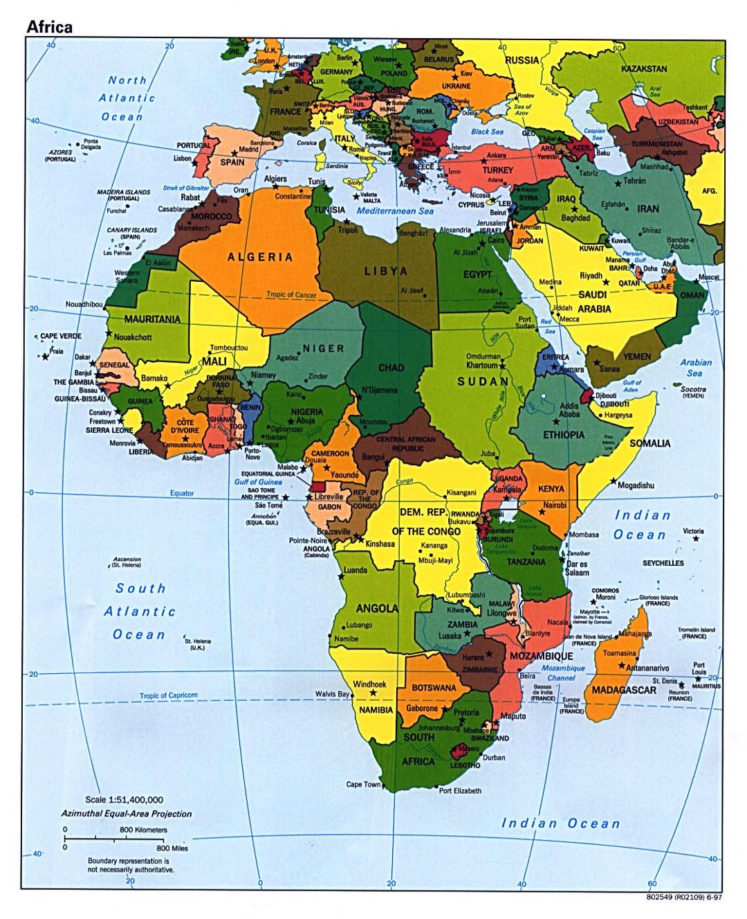 Detailed political map of Africa with capitals - 1997