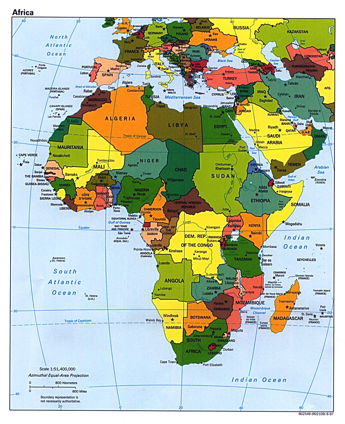 map of africa and capitals Detailed Political Map Of Africa With Capitals 1997 Africa map of africa and capitals