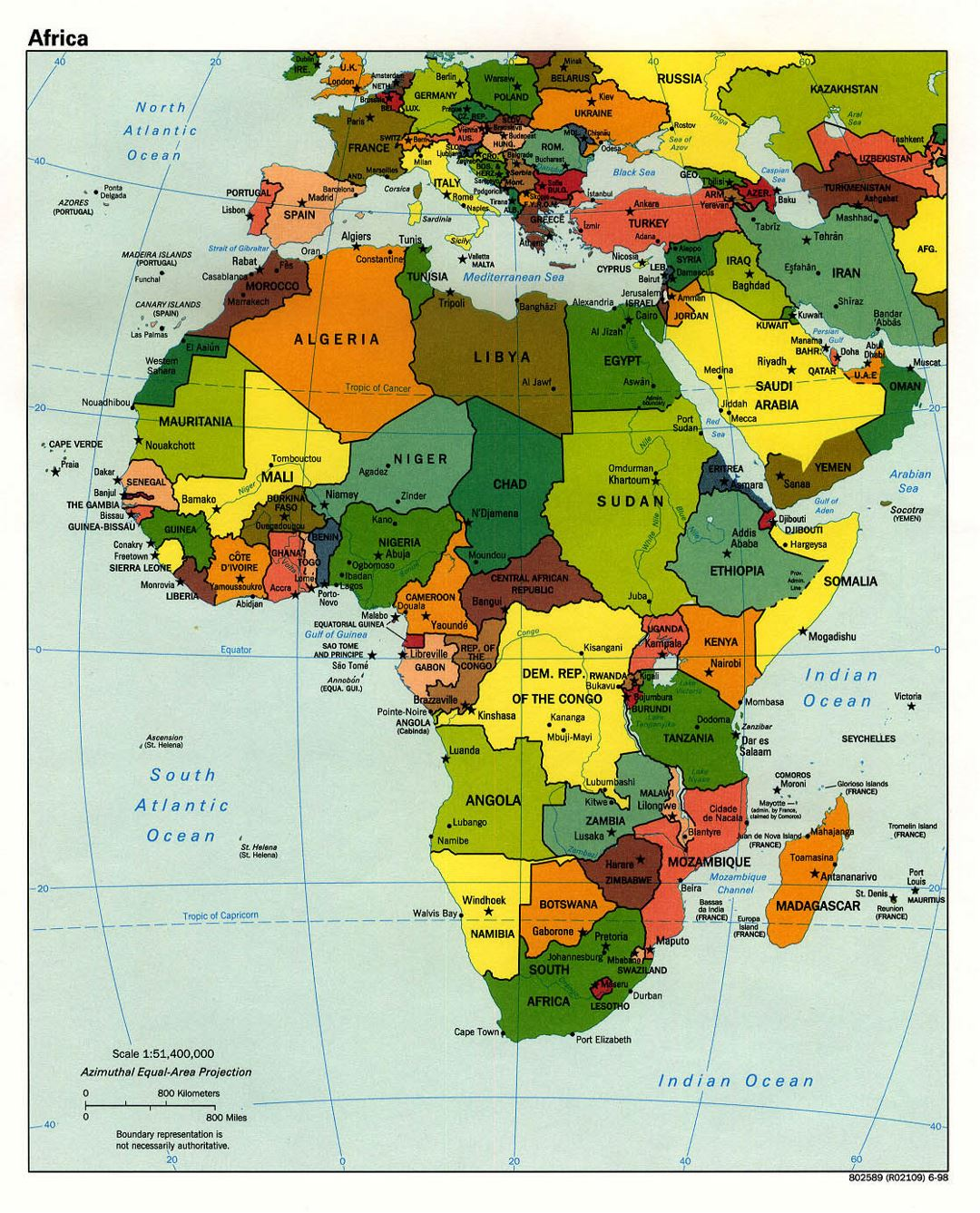 Detailed political map of Africa with capitals - 1998