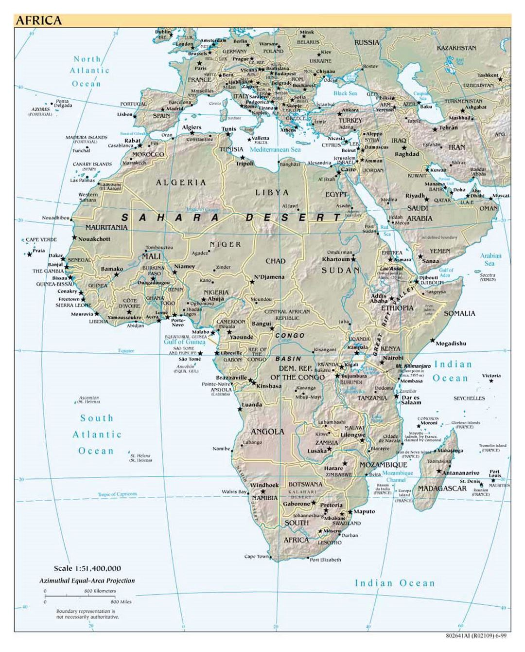 Detailed political map of Africa with relief and capitals - 1999