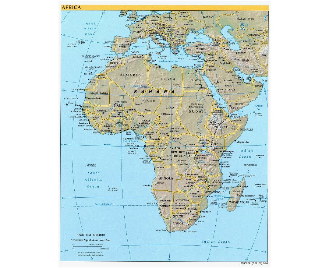 Detailed political map of Africa with relief and capitals - 2003