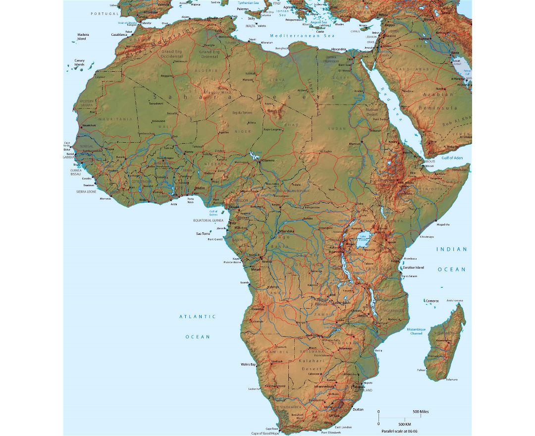 Detailed political map of Africa with relief