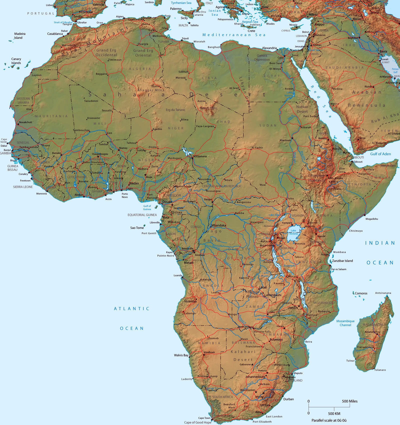 Detailed political map of Africa with relief | Africa | Mapsland