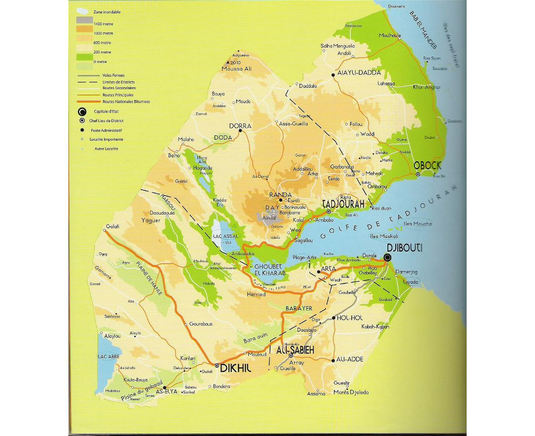 Detailed elevation map of Djibouti with roads and cities