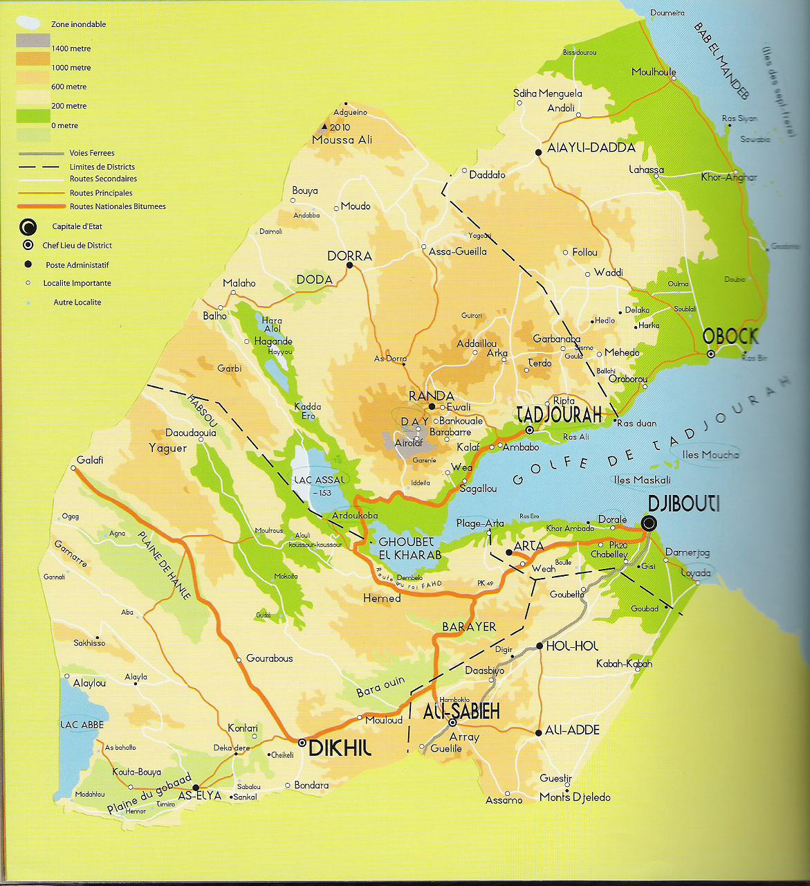 Detailed Elevation Map Of Djibouti With Roads And Cities - Djibouti map