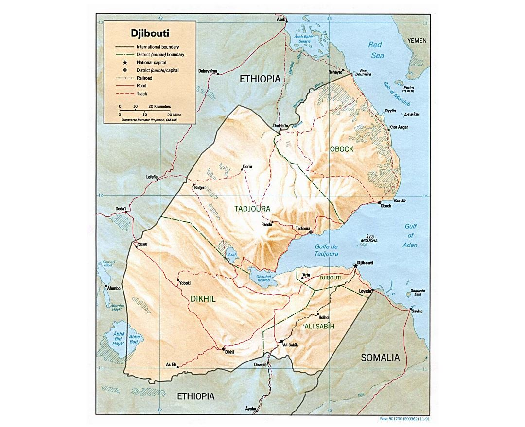 Detailed political and administrative map of Djibouti with relief, roads, railroads and major cities - 1991