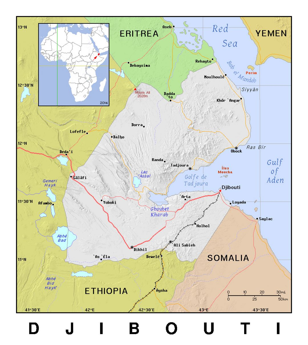 Detailed political map of Djibouti with relief