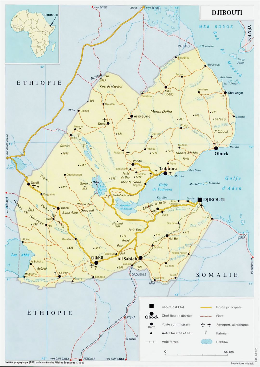 Detailed political map of Djibouti with roads, railroads, cities and airports