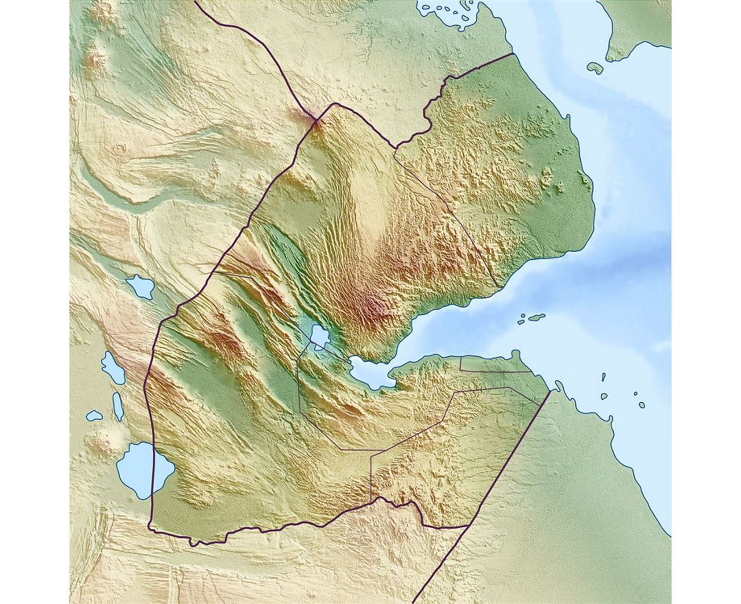 Detailed relief map of Djibouti