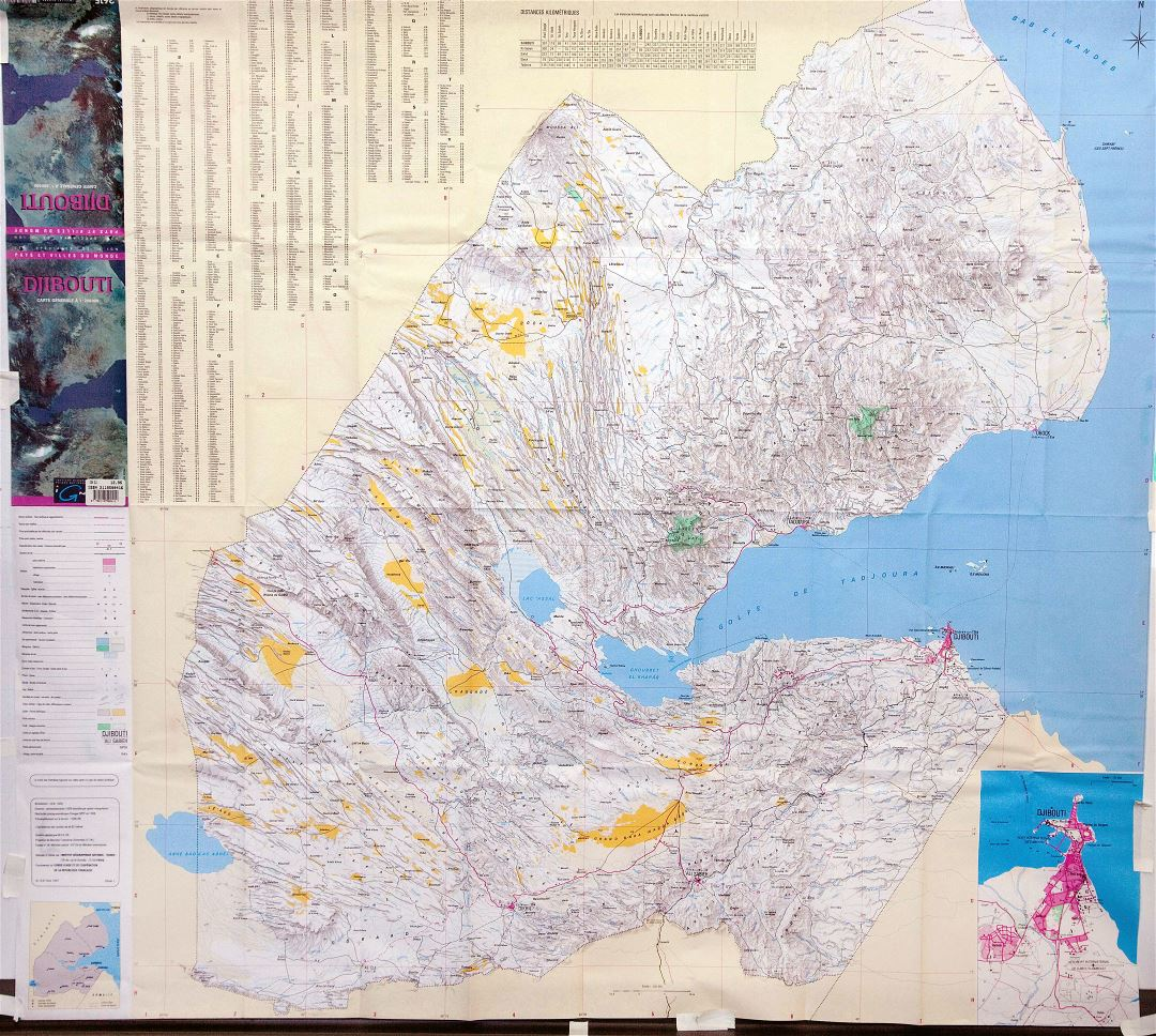 Large detailed map of Djibouti with relief and other marks