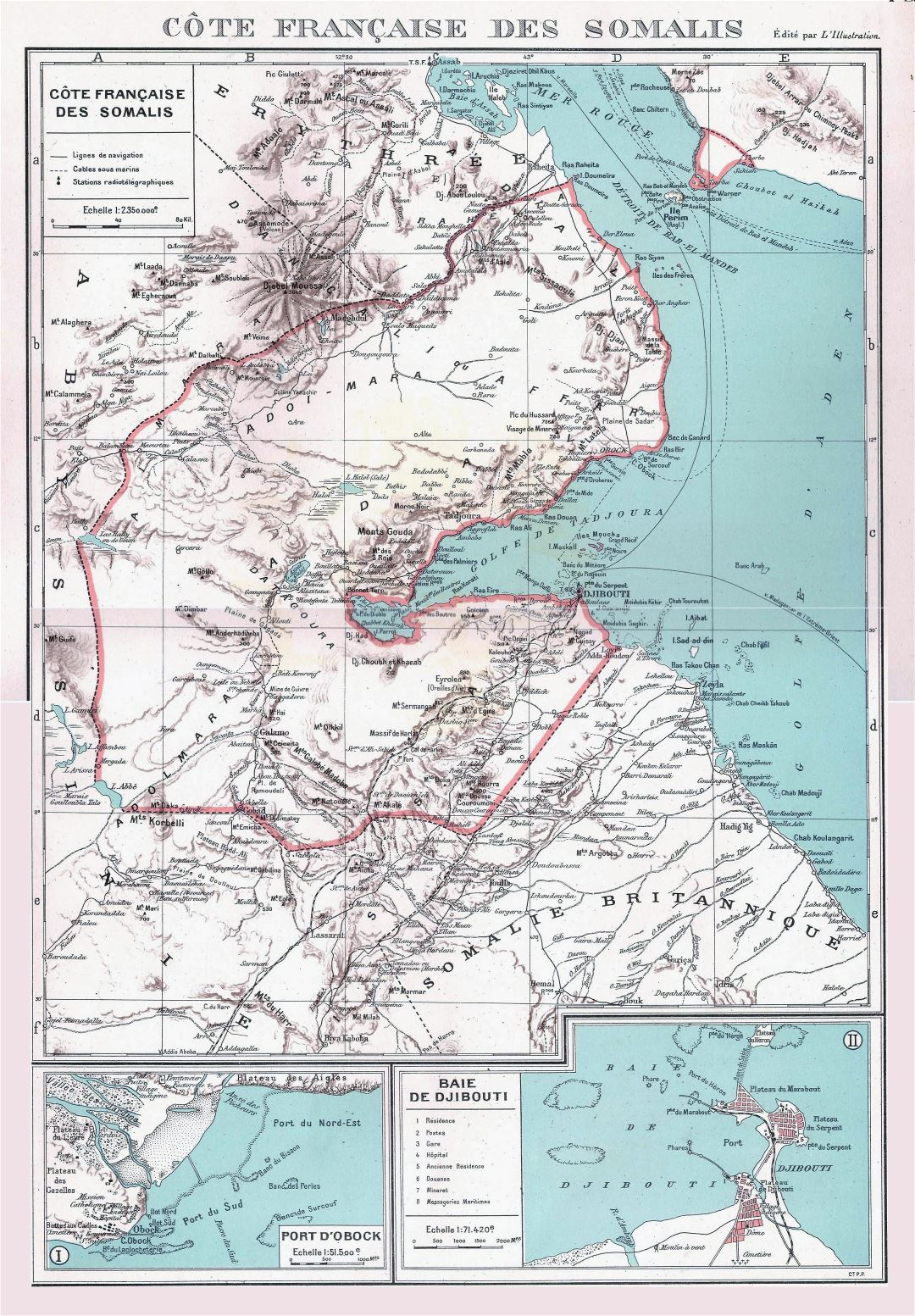 Large detailed old map of Djibouti with relief