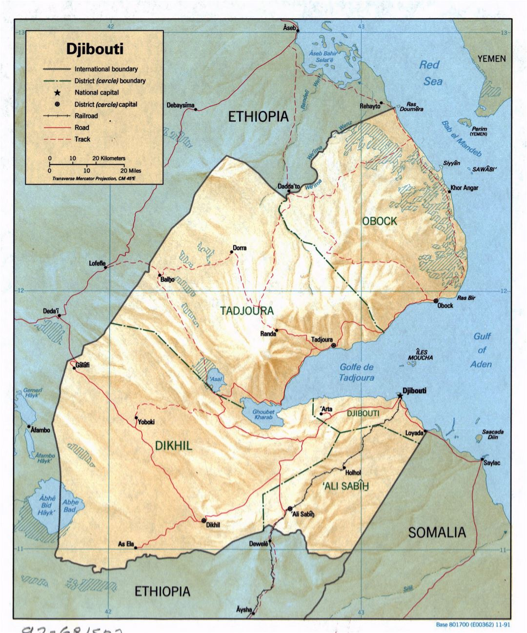 Large detailed political and administrative map of Djibouti with relief, roads, railroads and major cities - 1991
