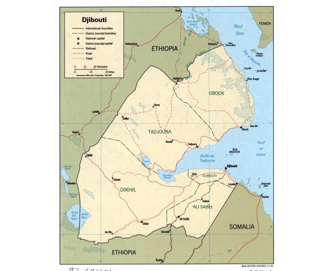Large detailed political and administrative map of Djibouti with roads, railroads and major cities - 1991