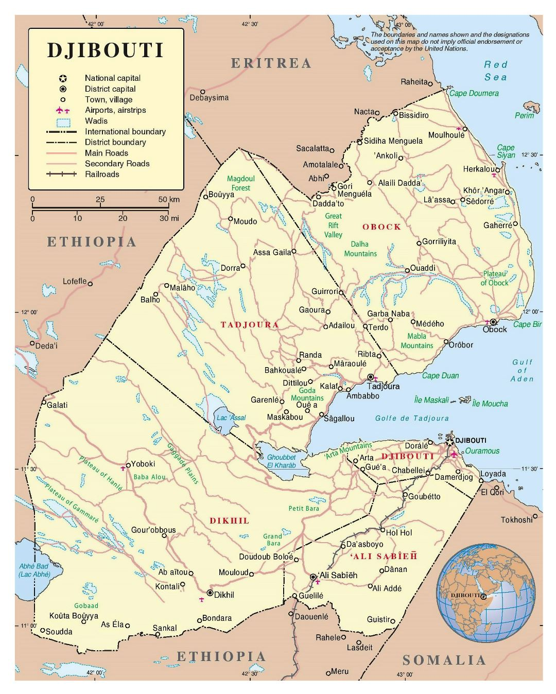 Large detailed political and administrative map of Djibouti with roads, railroads, cities and airports