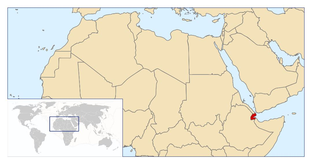 Large location map of Djibouti in Africa