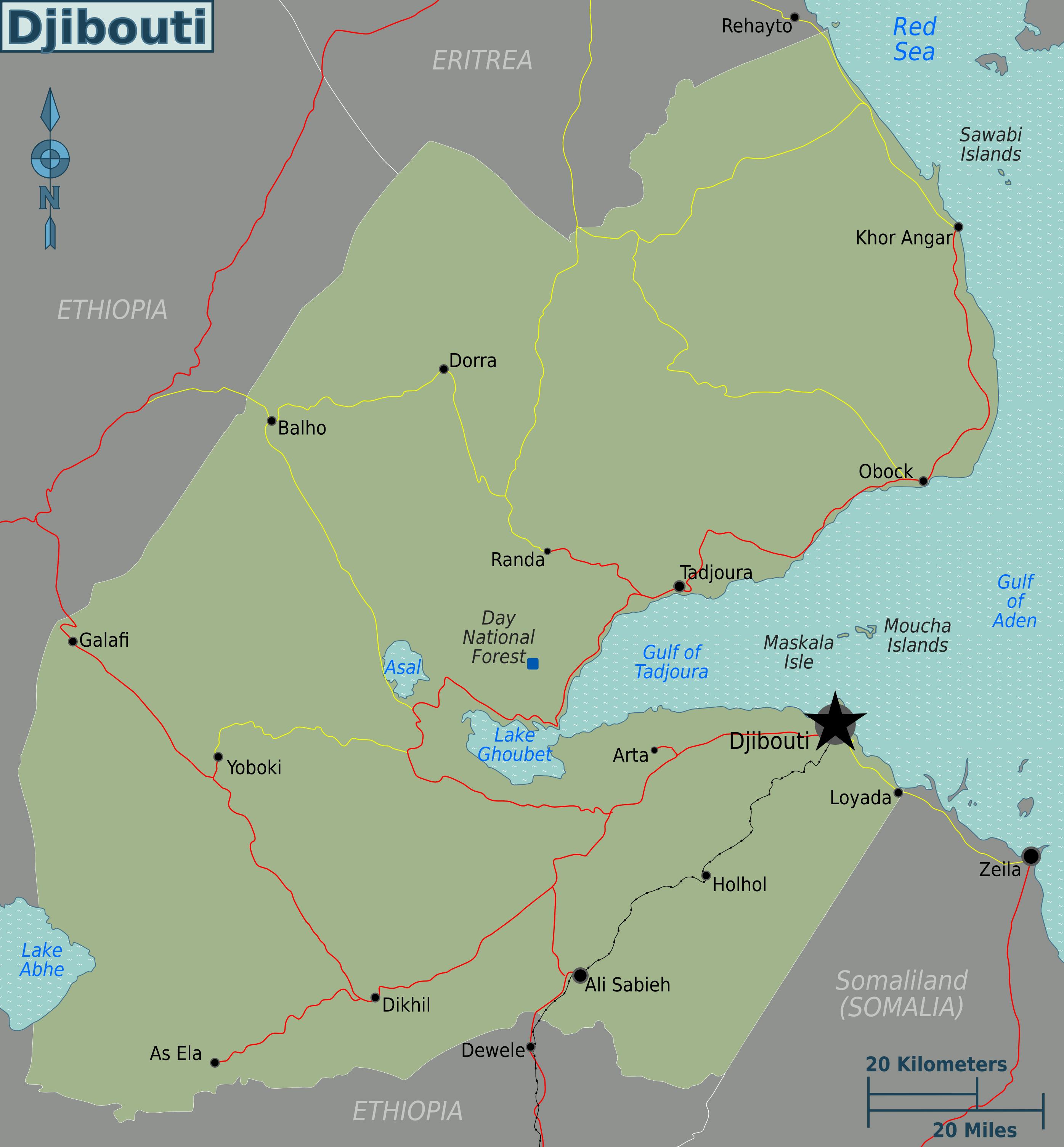 Large map of Djibouti Djibouti Africa Mapsland Maps of the World