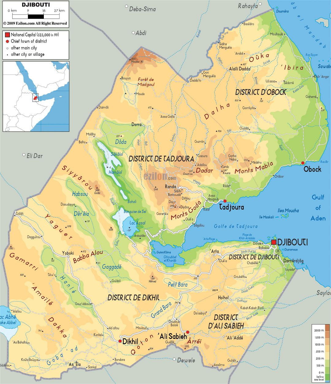Large physical map of Djibouti with roads, cities and airports