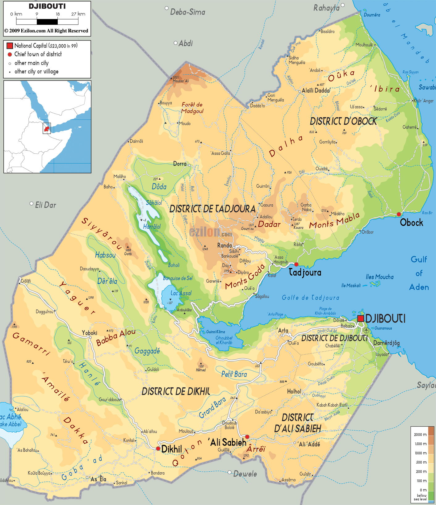 Large physical map of Djibouti with roads, cities and ...