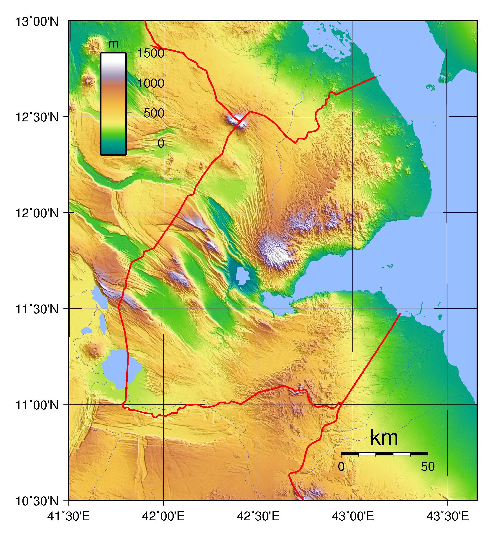 Large Physical Map Of Djibouti Djibouti Africa Mapsland - Djibouti maps with countries