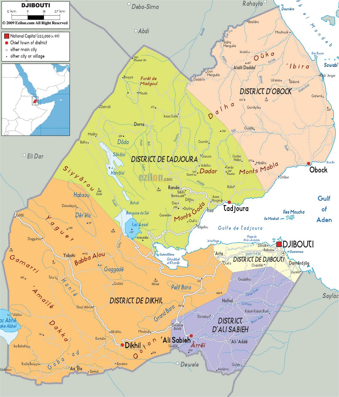 Large political and administrative map of Djibouti with roads, cities and airports