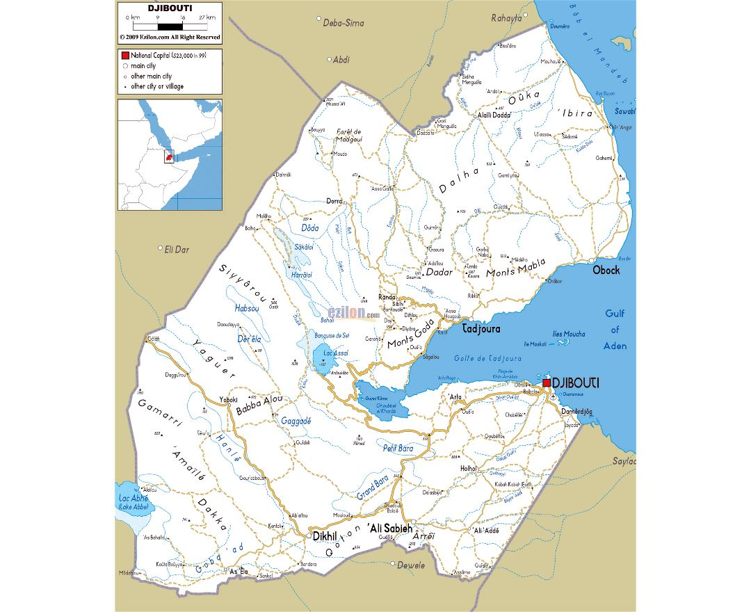 Maps of Djibouti Detailed map of Djibouti in English Tourist map