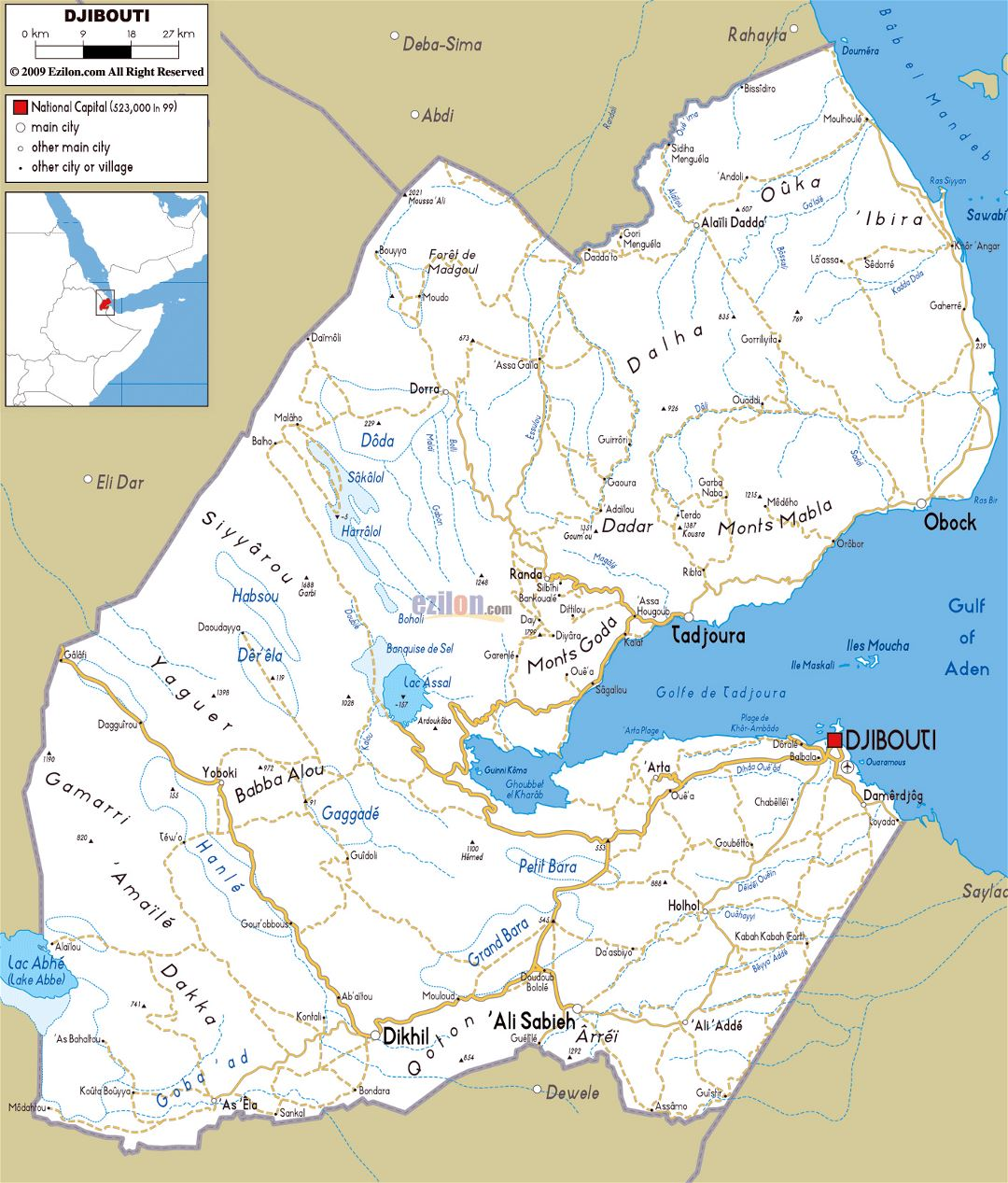 Large road map of Djibouti with cities and airports