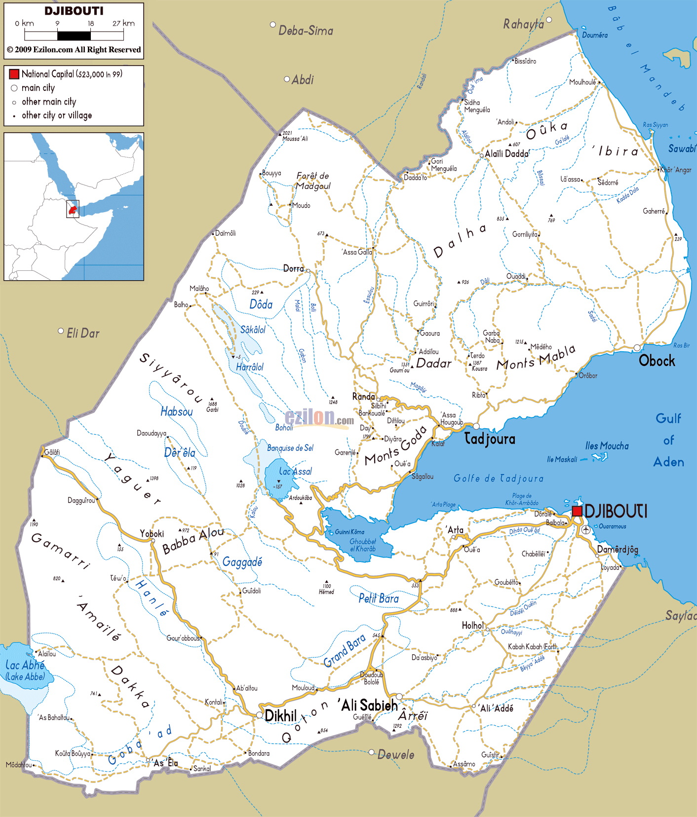 Large road map of Djibouti with cities and airports | Djibouti ...