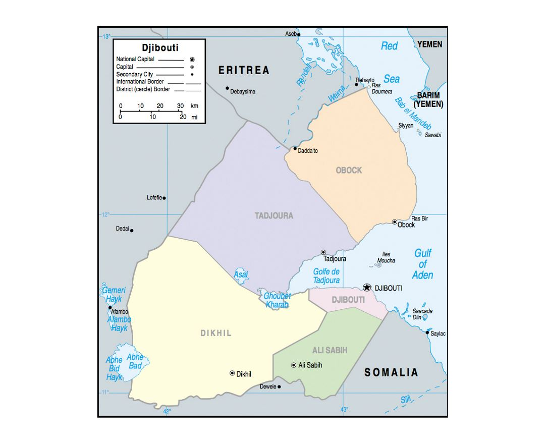 Political and administrative map of Djibouti with major cities - 2002