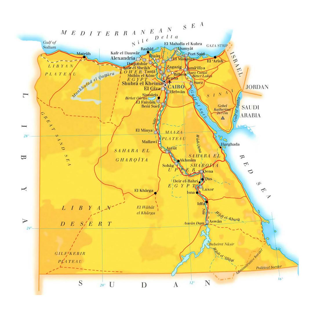 Detailed elevation map of Egypt with roads, cities and airports