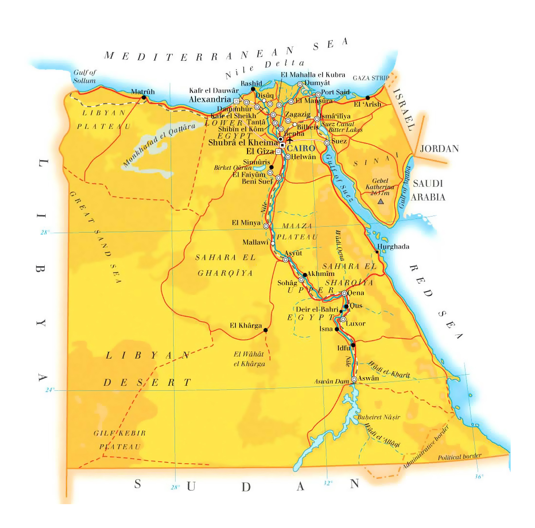 Detailed elevation map of Egypt with roads cities and airports