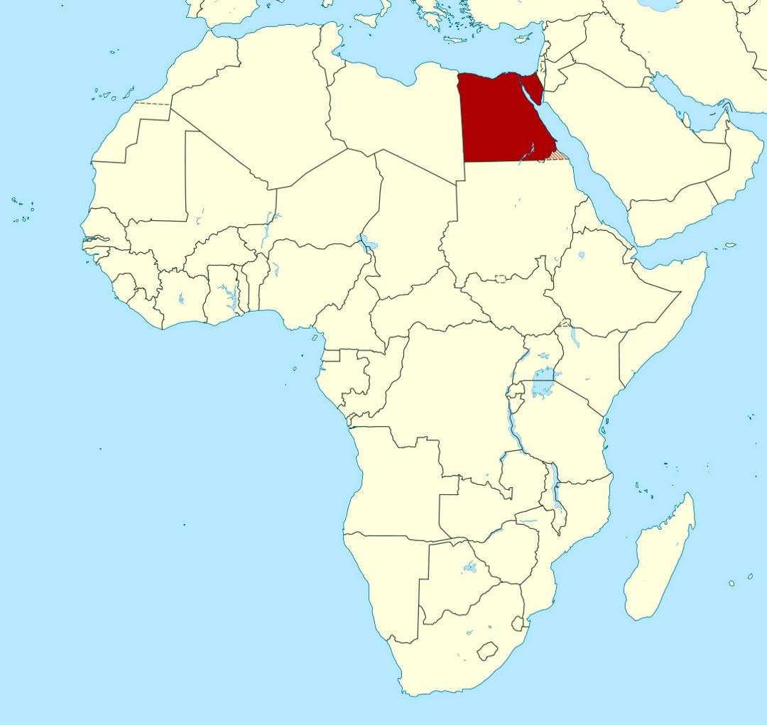 Detailed location map of Egypt in Africa