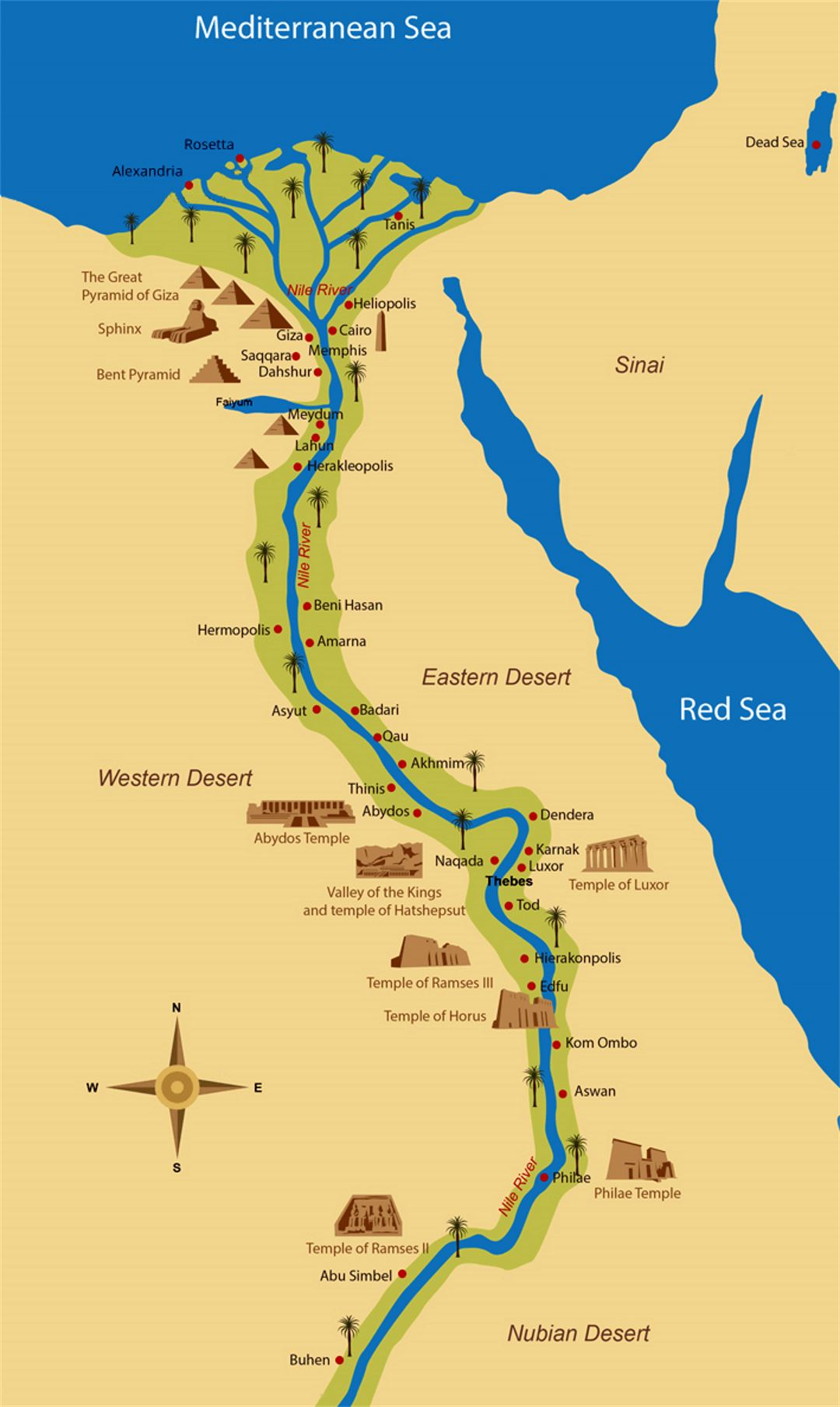 Detailed map of Ancient Egypt Egypt Africa Mapsland Maps of