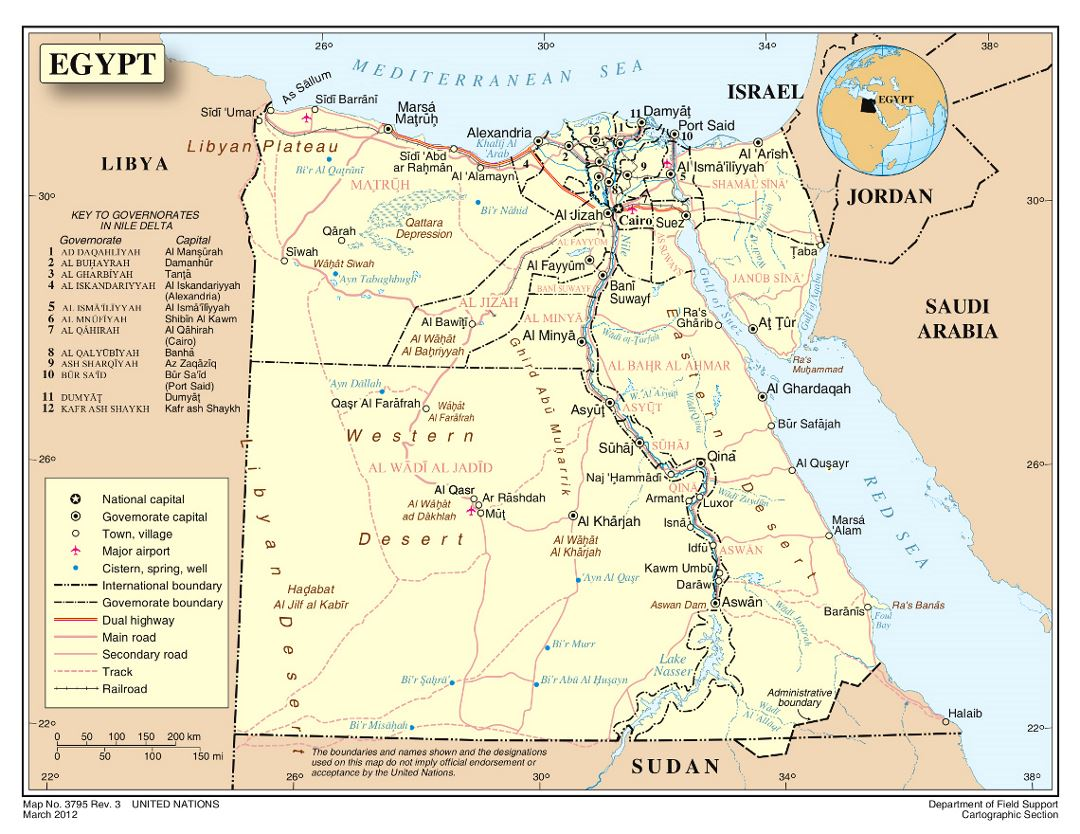 Detailed political and administrative map of Egypt with roads, railroads, cities and airports