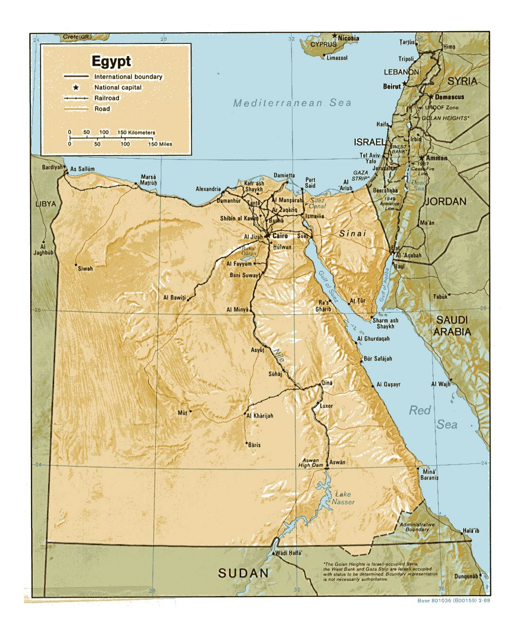 Detailed political map of Egypt with relief, roads, railroads and major cities - 1988